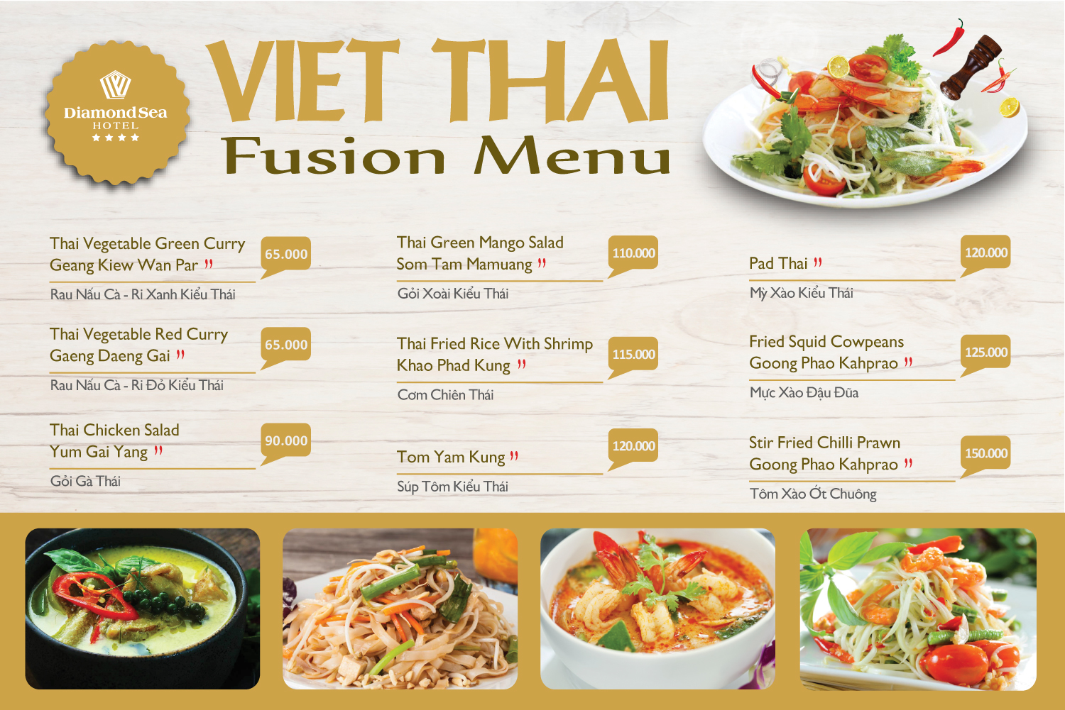 Get lost in the Golden Pagoda Land with special Thai menu at Diamond Sea